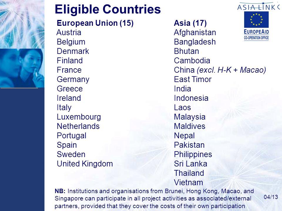 Eligible Countries European Union (15) Asia (17) Austria Afghanistan Belgium Bangladesh Denmark Bhutan Finland Cambodia France China (excl. H-K + Maca