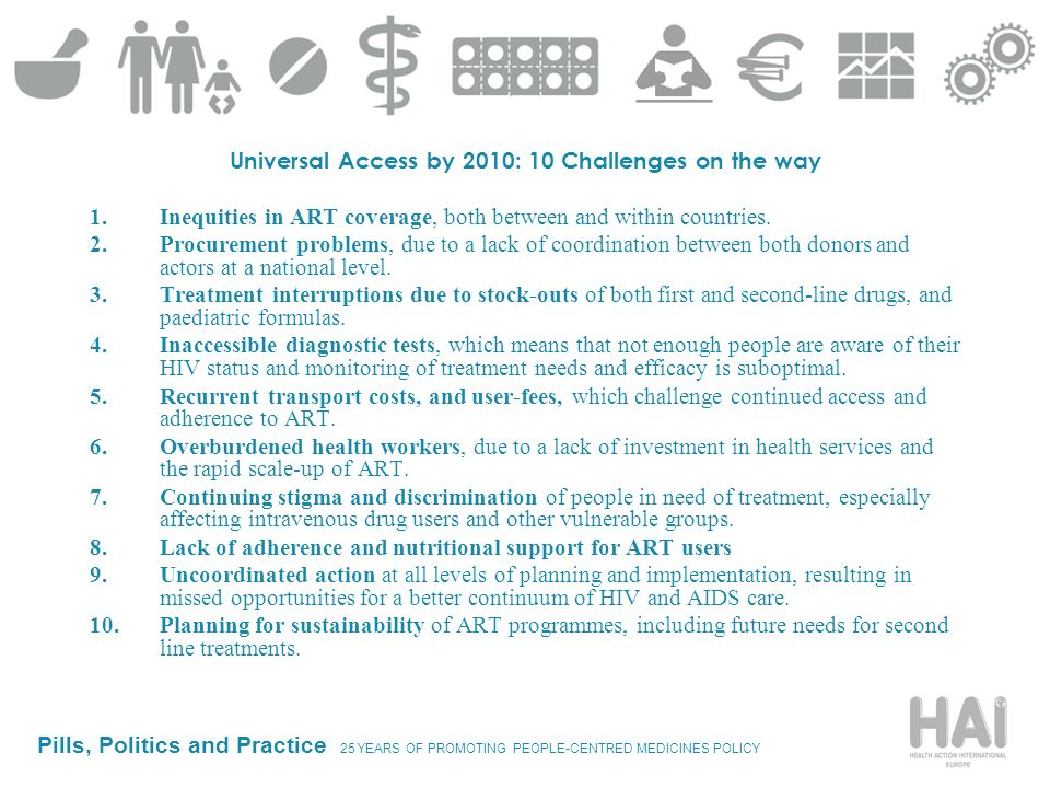 Pills, Politics and Practice 25 YEARS OF PROMOTING PEOPLE-CENTRED MEDICINES POLICY Universal Access by 2010: 10 Challenges on the way 1.Inequities in
