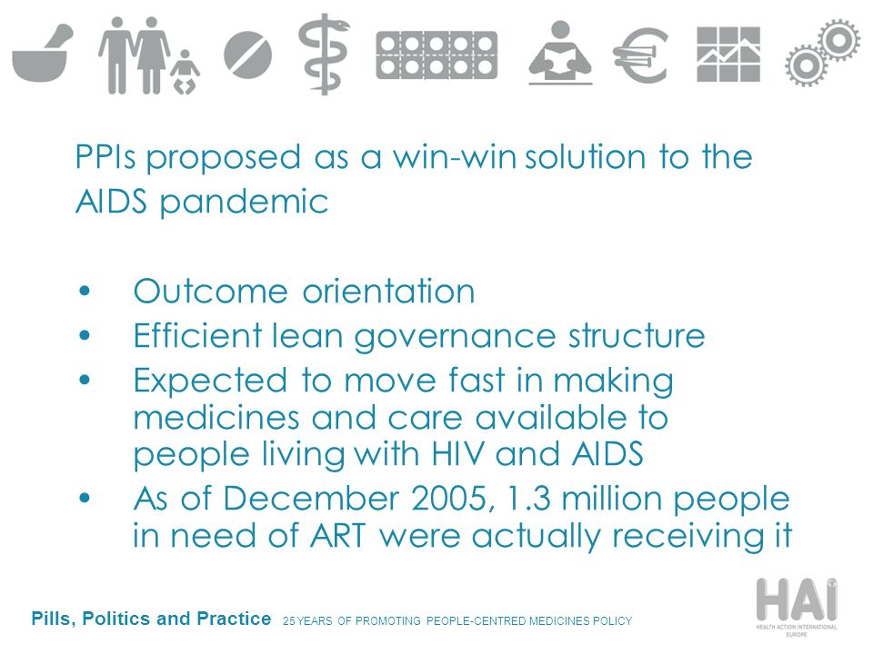Pills, Politics and Practice 25 YEARS OF PROMOTING PEOPLE-CENTRED MEDICINES POLICY PPIs proposed as a win-win solution to the AIDS pandemic Outcome orientation Efficient lean governance structure Expected to move fast in making medicines and care available to people living with HIV and AIDS As of December 2005, 1.3 million people in need of ART were actually receiving it