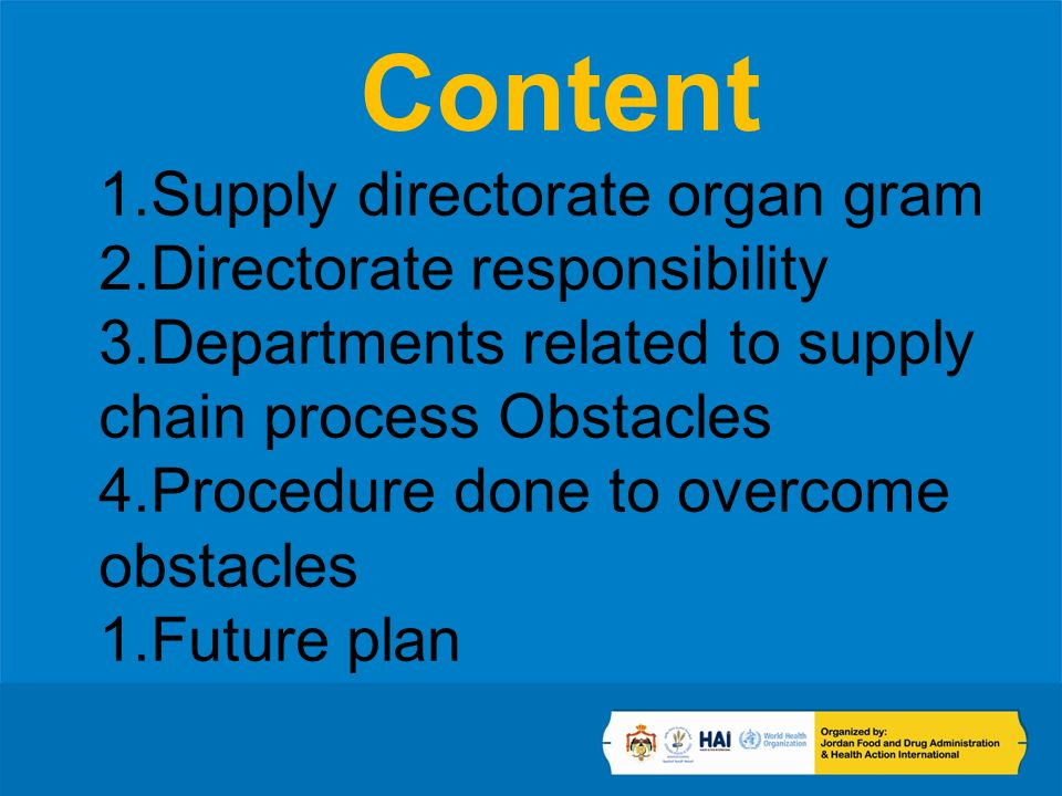 Content 1.Supply directorate organ gram 2.Directorate responsibility 3.Departments related to supply chain process Obstacles 4.Procedure done to overcome obstacles 1.Future plan