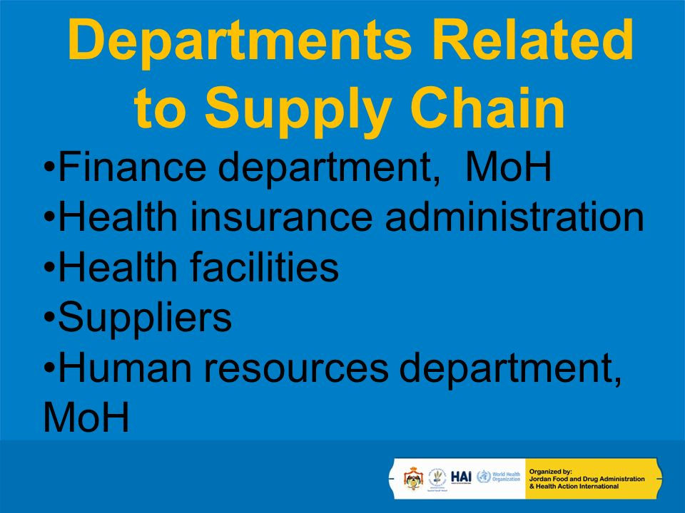 Departments Related to Supply Chain Finance department, MoH Health insurance administration Health facilities Suppliers Human resources department, MoH