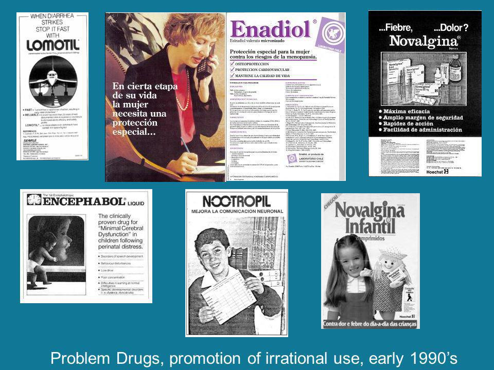 Problem Drugs, promotion of irrational use, early 1990s