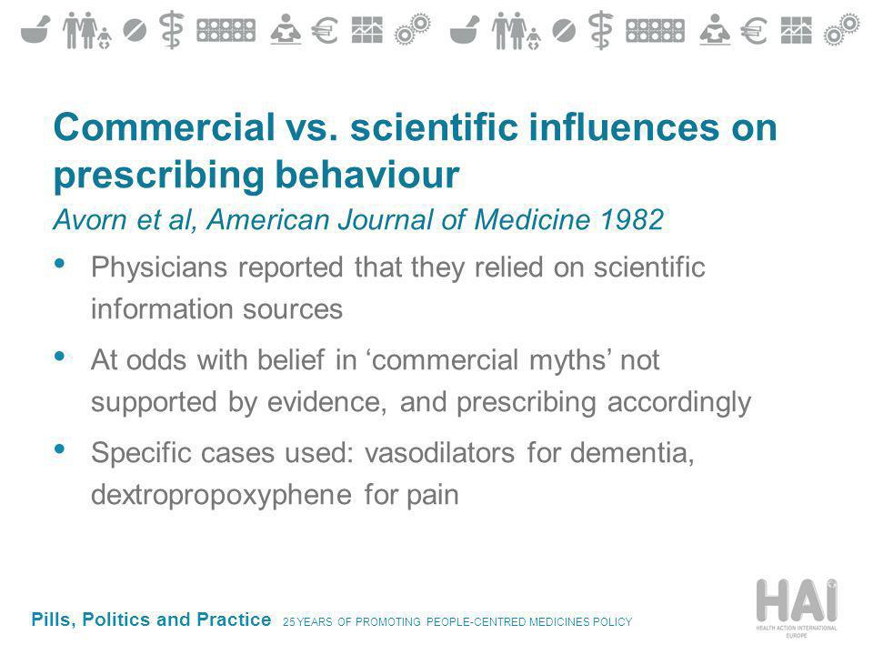 Pills, Politics and Practice 25 YEARS OF PROMOTING PEOPLE-CENTRED MEDICINES POLICY Commercial vs.