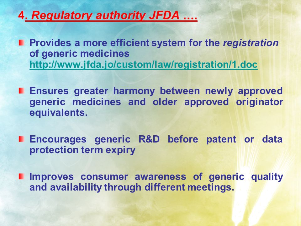 4. R RR Regulatory authority JFDA ….