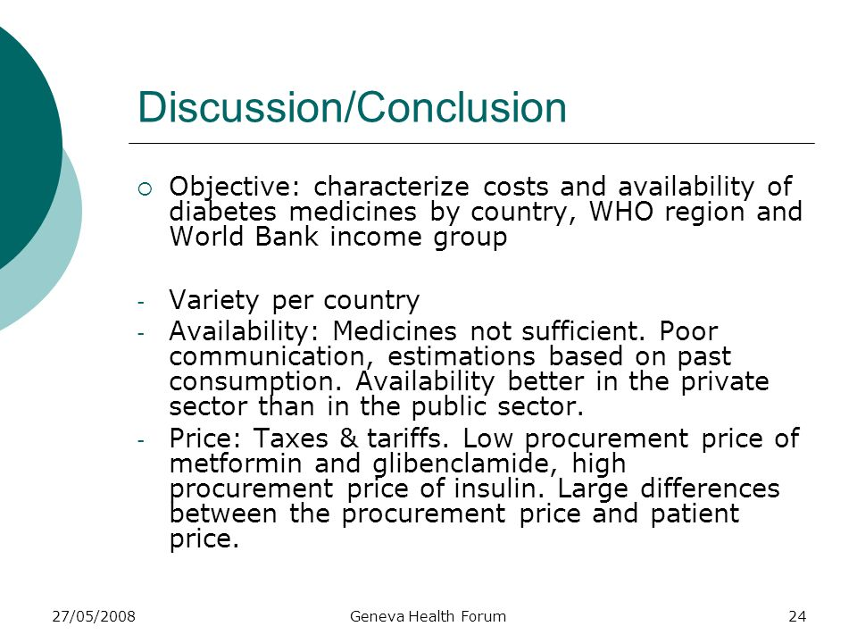 27/05/2008Geneva Health Forum24 Discussion/Conclusion Objective: characterize costs and availability of diabetes medicines by country, WHO region and