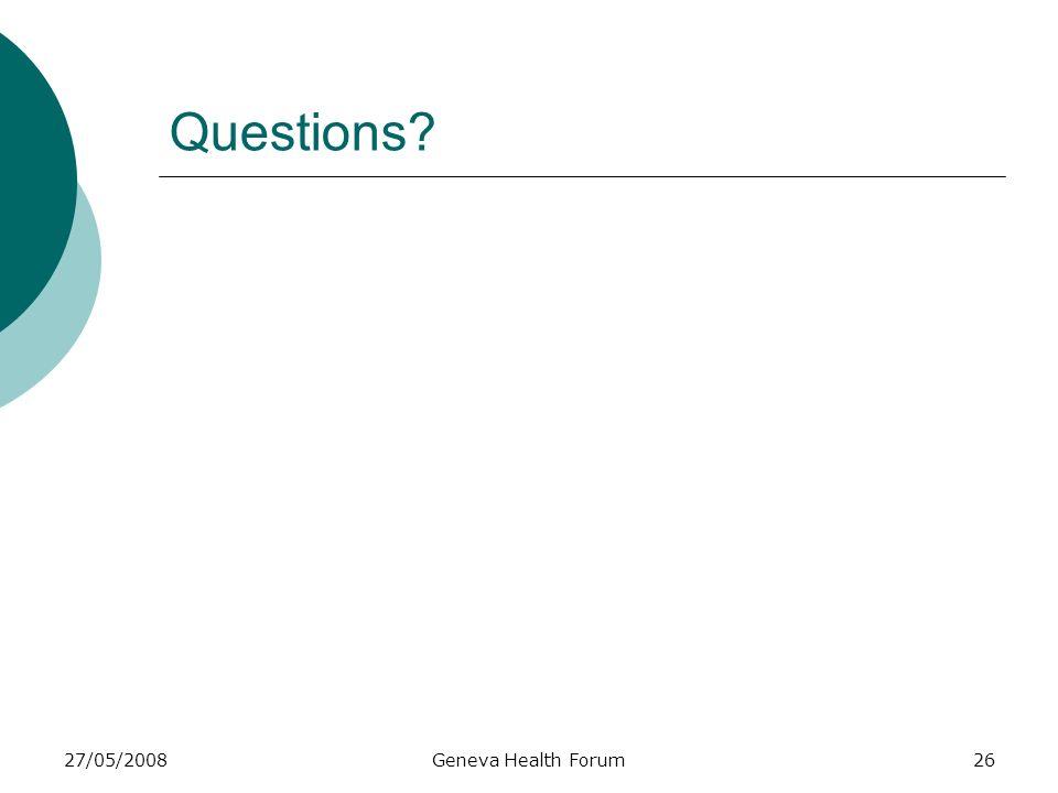 27/05/2008Geneva Health Forum26 Questions?