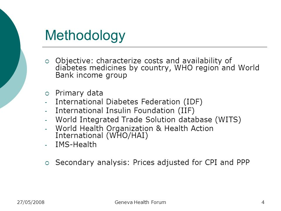 27/05/2008Geneva Health Forum4 Methodology Objective: characterize costs and availability of diabetes medicines by country, WHO region and World Bank