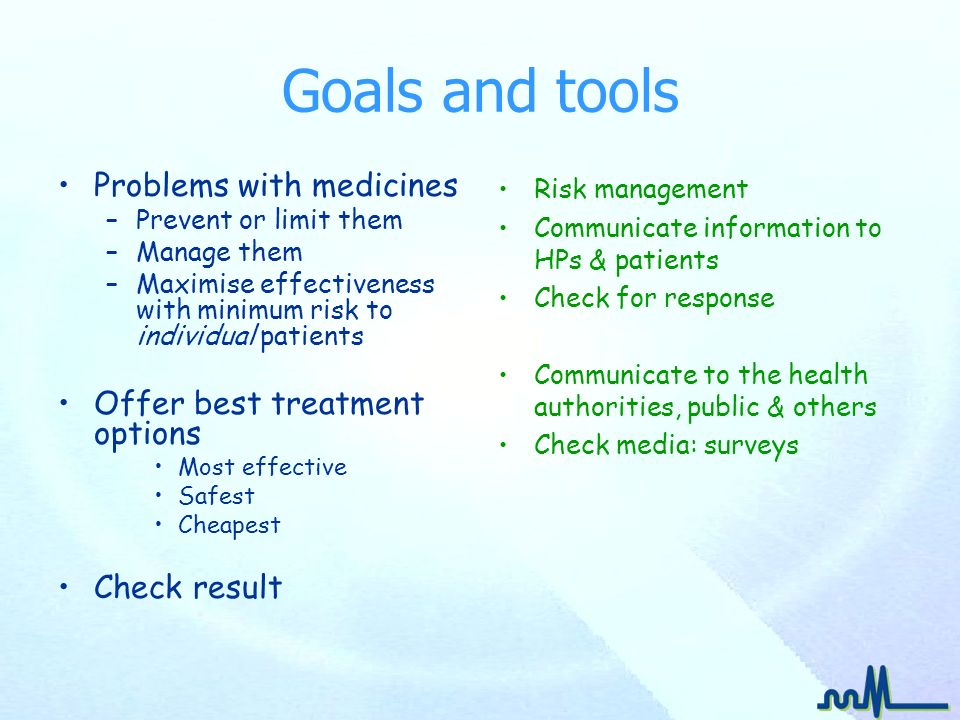 Goals and tools Problems with medicines –Prevent or limit them –Manage them –Maximise effectiveness with minimum risk to individual patients Offer bes