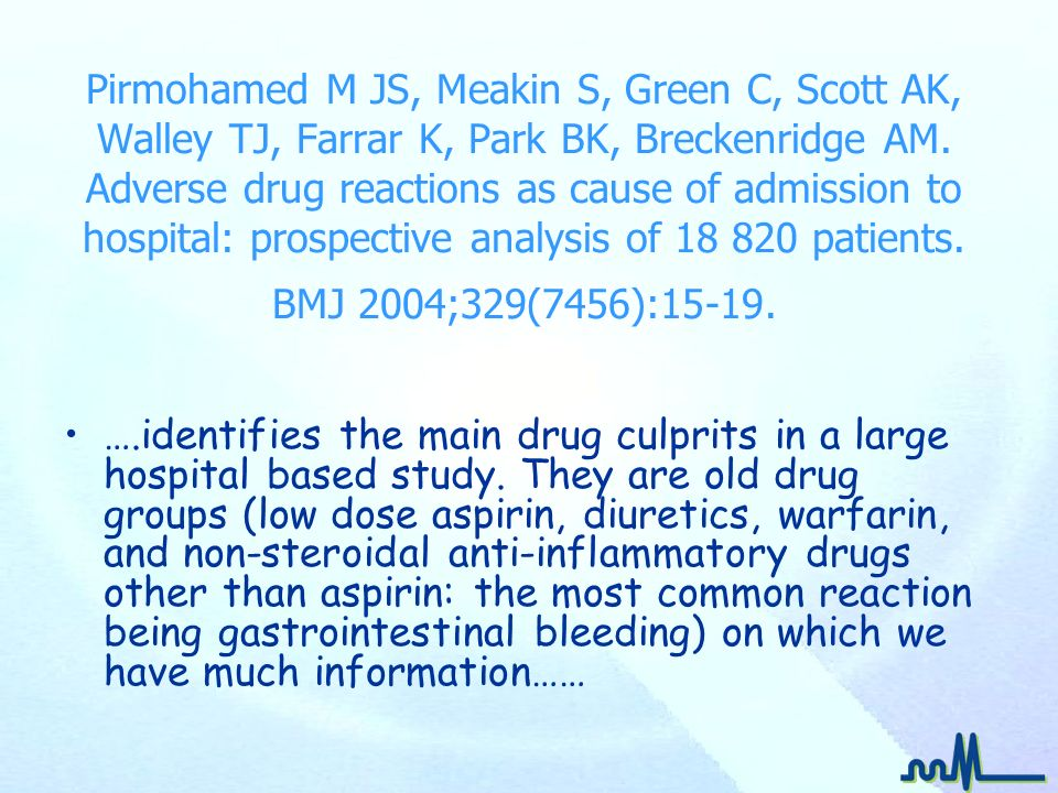 Pirmohamed M JS, Meakin S, Green C, Scott AK, Walley TJ, Farrar K, Park BK, Breckenridge AM. Adverse drug reactions as cause of admission to hospital: