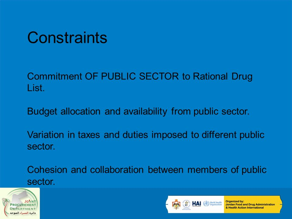 Constraints Commitment OF PUBLIC SECTOR to Rational Drug List.