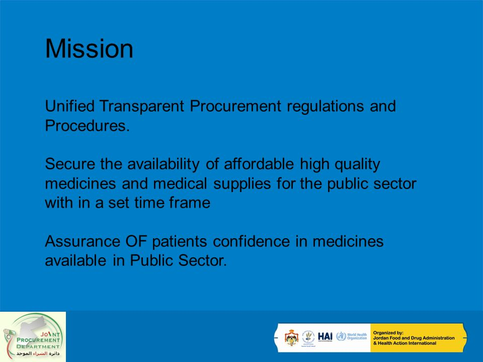 Mission Unified Transparent Procurement regulations and Procedures.