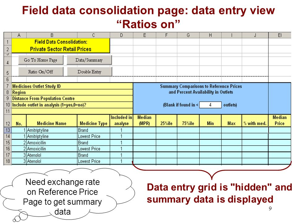 9 Need exchange rate on Reference Price Page to get summary data Field data consolidation page: data entry view Ratios on Data entry grid is hidden and summary data is displayed