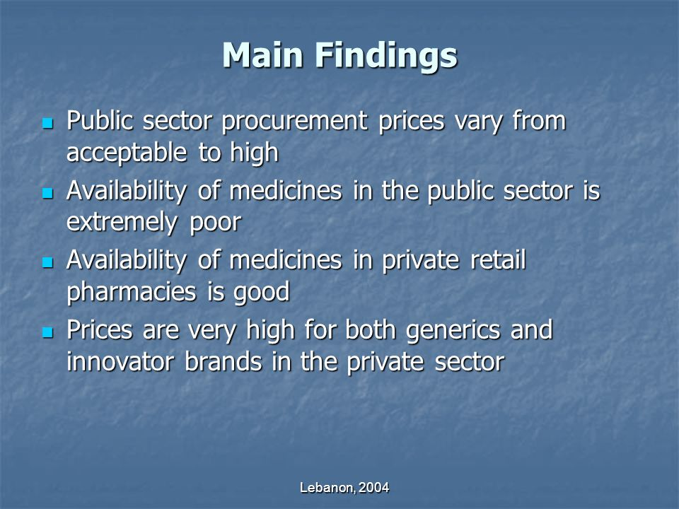 Lebanon, 2004 Main Findings Public sector procurement prices vary from acceptable to high Public sector procurement prices vary from acceptable to high Availability of medicines in the public sector is extremely poor Availability of medicines in the public sector is extremely poor Availability of medicines in private retail pharmacies is good Availability of medicines in private retail pharmacies is good Prices are very high for both generics and innovator brands in the private sector Prices are very high for both generics and innovator brands in the private sector