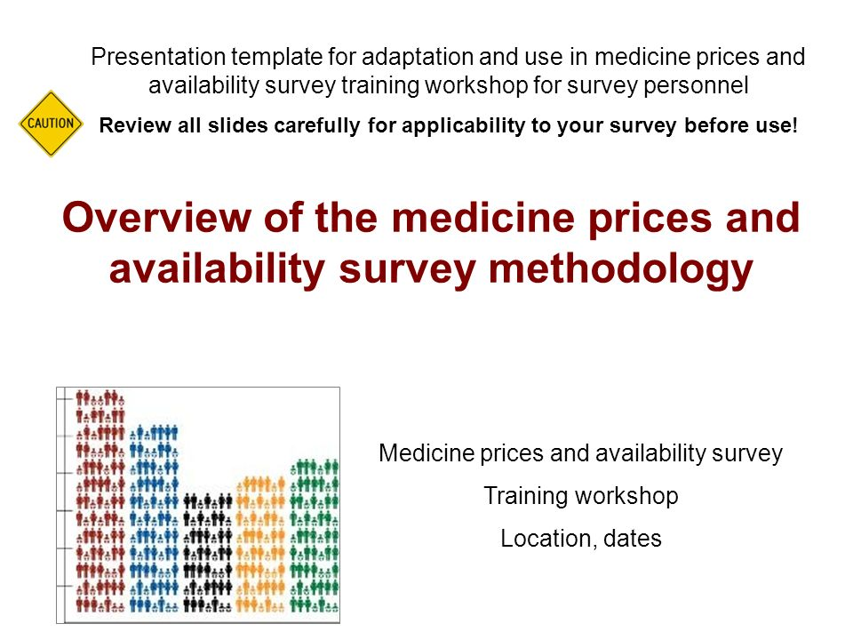 Overview of the medicine prices and availability survey methodology Presentation template for adaptation and use in medicine prices and availability survey training workshop for survey personnel Review all slides carefully for applicability to your survey before use.