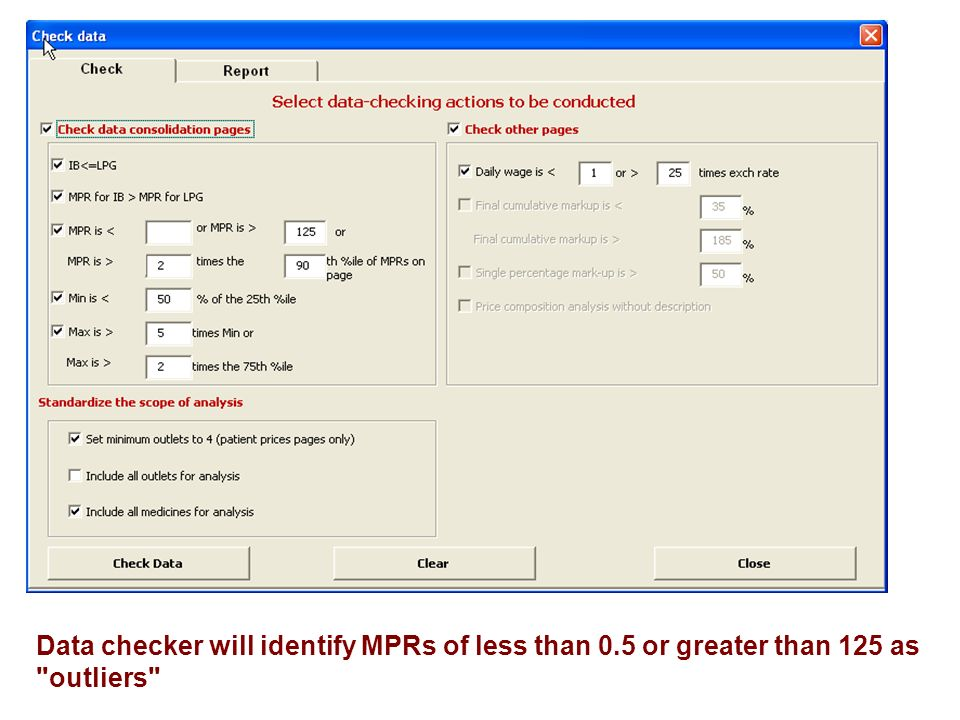 Data checker will identify MPRs of less than 0.5 or greater than 125 as outliers