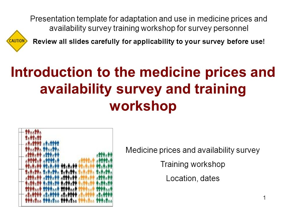1 Introduction to the medicine prices and availability survey and training workshop Presentation template for adaptation and use in medicine prices an