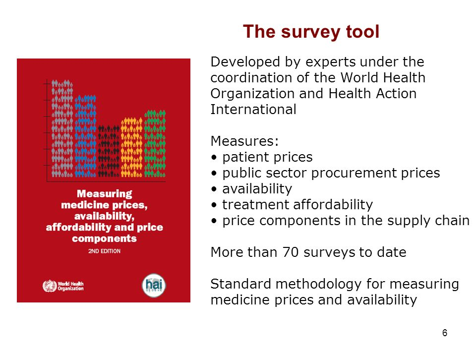 6 Developed by experts under the coordination of the World Health Organization and Health Action International Measures: patient prices public sector procurement prices availability treatment affordability price components in the supply chain More than 70 surveys to date Standard methodology for measuring medicine prices and availability The survey tool