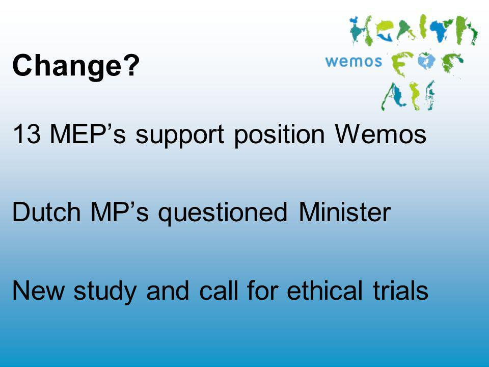 Change? 13 MEPs support position Wemos Dutch MPs questioned Minister New study and call for ethical trials