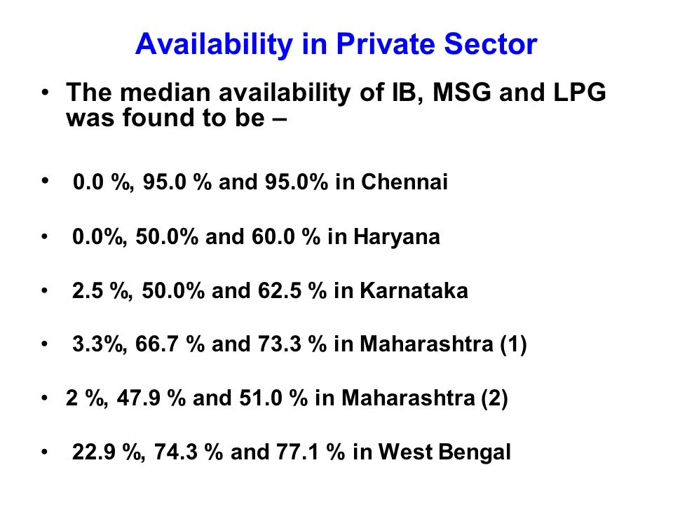 Availability in Private Sector The median availability of IB, MSG and LPG was found to be – 0.0 %, 95.0 % and 95.0% in Chennai 0.0%, 50.0% and 60.0 % in Haryana 2.5 %, 50.0% and 62.5 % in Karnataka 3.3%, 66.7 % and 73.3 % in Maharashtra (1) 2 %, 47.9 % and 51.0 % in Maharashtra (2) 22.9 %, 74.3 % and 77.1 % in West Bengal
