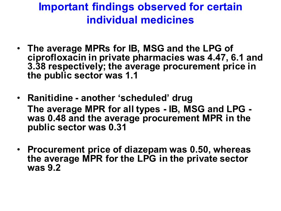 Important findings observed for certain individual medicines The average MPRs for IB, MSG and the LPG of ciprofloxacin in private pharmacies was 4.47, 6.1 and 3.38 respectively; the average procurement price in the public sector was 1.1 Ranitidine - another scheduled drug The average MPR for all types - IB, MSG and LPG - was 0.48 and the average procurement MPR in the public sector was 0.31 Procurement price of diazepam was 0.50, whereas the average MPR for the LPG in the private sector was 9.2