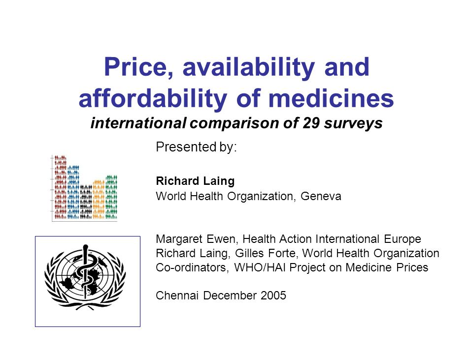 Price, availability and affordability of medicines international comparison of 29 surveys Presented by: Richard Laing World Health Organization, Geneva Margaret Ewen, Health Action International Europe Richard Laing, Gilles Forte, World Health Organization Co-ordinators, WHO/HAI Project on Medicine Prices Chennai December 2005