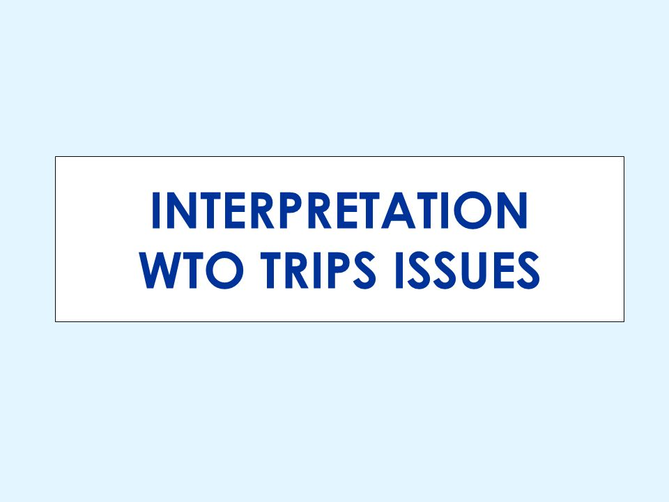 INTERPRETATION WTO TRIPS ISSUES