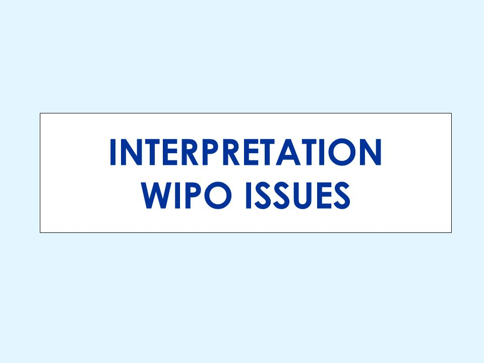 INTERPRETATION WIPO ISSUES