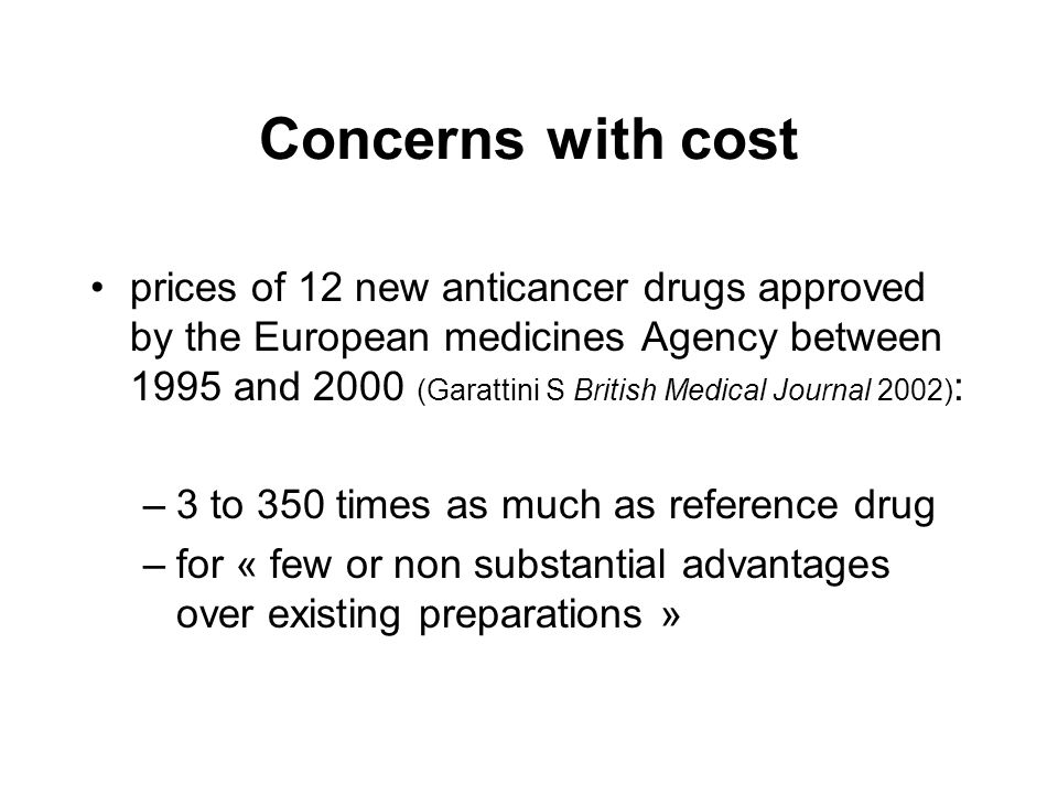 Concerns with cost prices of 12 new anticancer drugs approved by the European medicines Agency between 1995 and 2000 (Garattini S British Medical Jour
