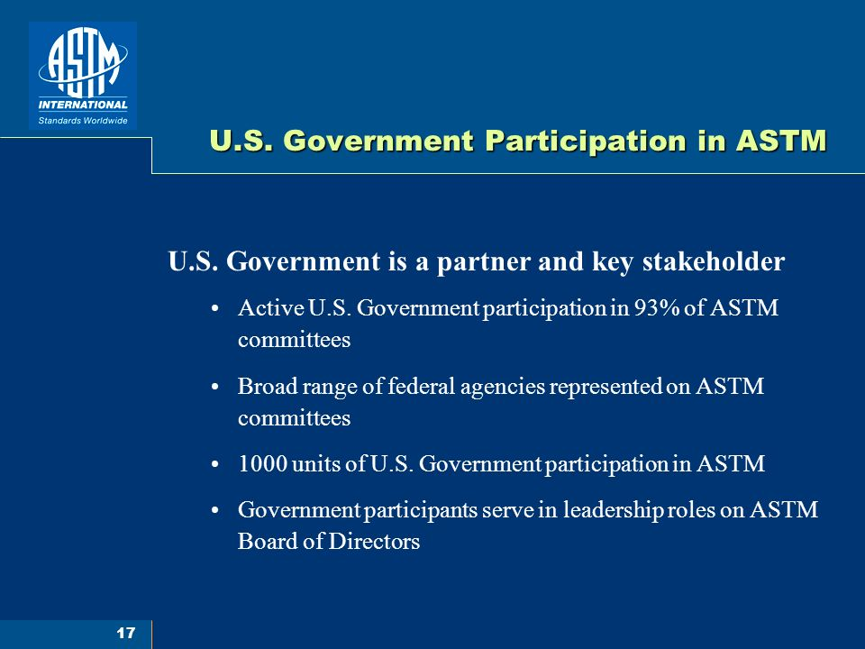 17 U.S. Government Participation in ASTM U.S.