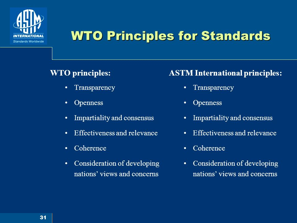 31 WTO Principles for Standards ASTM International principles: Transparency Openness Impartiality and consensus Effectiveness and relevance Coherence Consideration of developing nations views and concerns WTO principles: Transparency Openness Impartiality and consensus Effectiveness and relevance Coherence Consideration of developing nations views and concerns