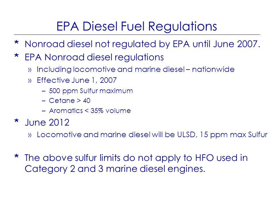 EPA Diesel Fuel Regulations * Nonroad diesel not regulated by EPA until June 2007. * EPA Nonroad diesel regulations »Including locomotive and marine d