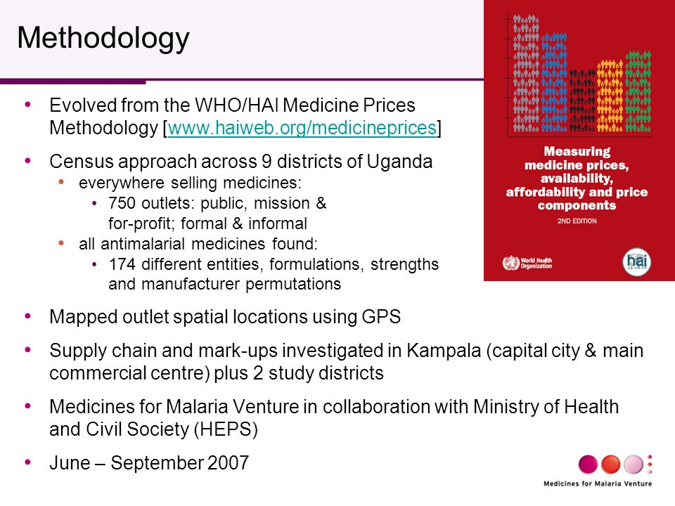 Methodology Evolved from the WHO/HAI Medicine Prices Methodology [www.haiweb.org/medicineprices]www.haiweb.org/medicineprices Census approach across 9 districts of Uganda everywhere selling medicines: 750 outlets: public, mission & for-profit; formal & informal all antimalarial medicines found: 174 different entities, formulations, strengths and manufacturer permutations Mapped outlet spatial locations using GPS Supply chain and mark-ups investigated in Kampala (capital city & main commercial centre) plus 2 study districts Medicines for Malaria Venture in collaboration with Ministry of Health and Civil Society (HEPS) June – September 2007
