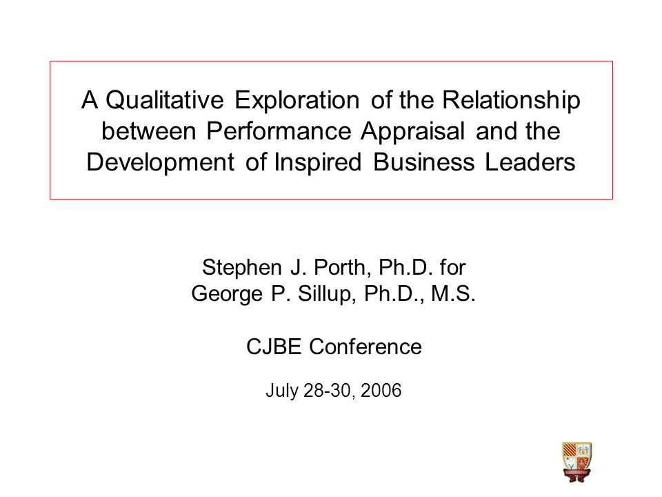 Stephen J. Porth, Ph.D. for George P. Sillup, Ph.D., M.S. CJBE Conference July 28-30, 2006 A Qualitative Exploration of the Relationship between Perfo