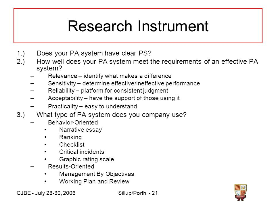 CJBE - July 28-30, 2006Sillup/Porth - 21 Research Instrument 1.)Does your PA system have clear PS.