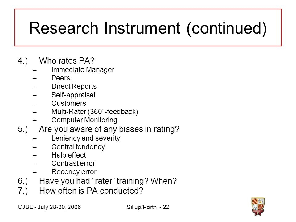 CJBE - July 28-30, 2006Sillup/Porth - 22 Research Instrument (continued) 4.)Who rates PA.