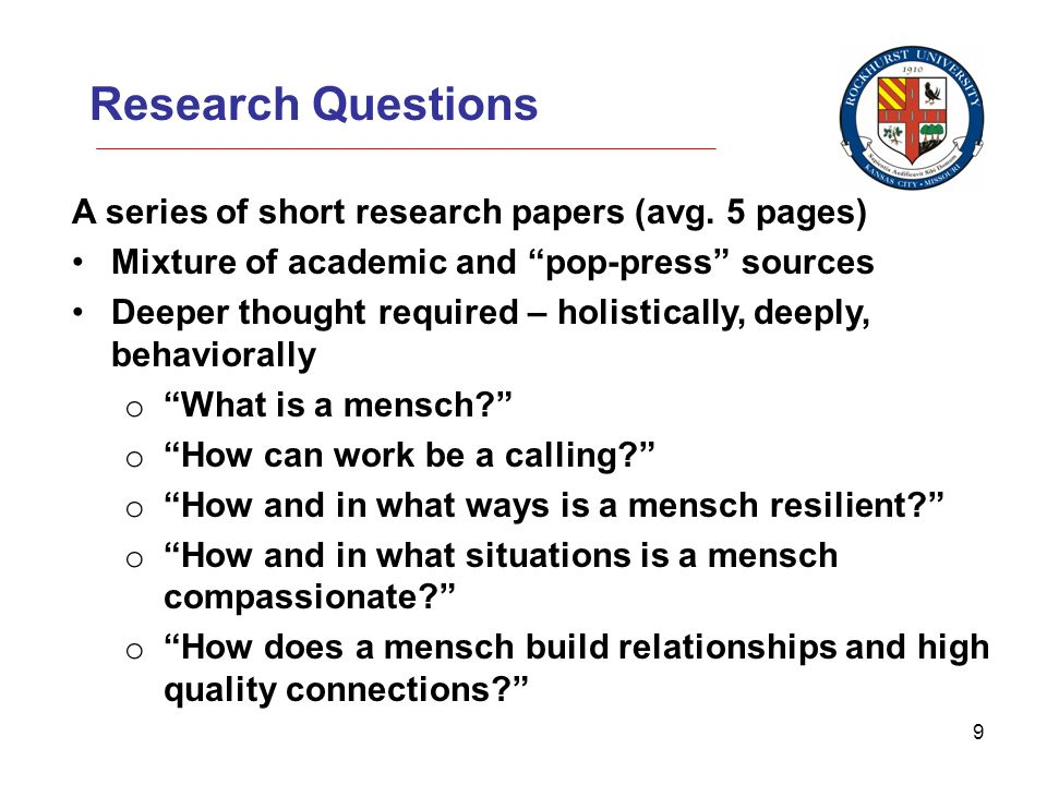 9 Research Questions A series of short research papers (avg.