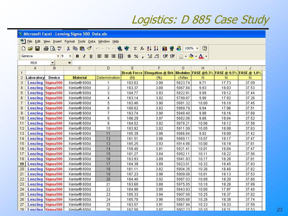 23 Logistics: D 885 Case Study