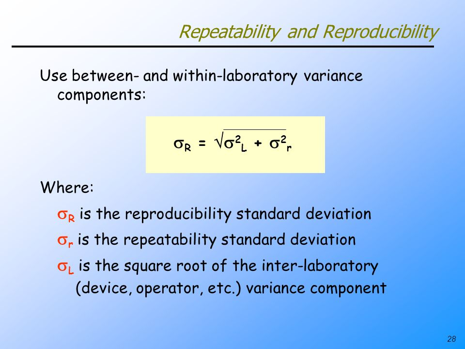 28 Repeatability and Reproducibility Use between- and within-laboratory variance components: R = 2 L + 2 r Where: R is the reproducibility standard de
