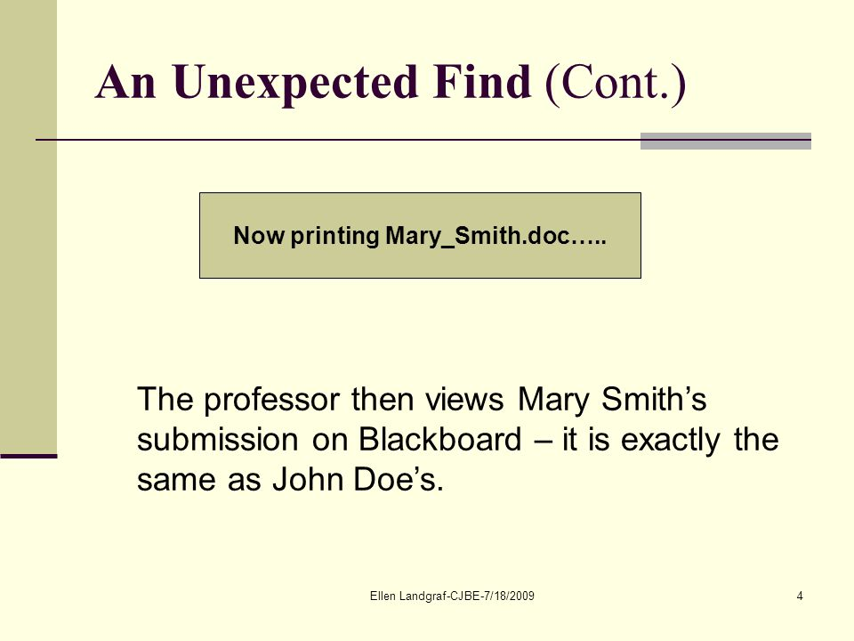 Ellen Landgraf-CJBE-7/18/20094 An Unexpected Find (Cont.) Now printing Mary_Smith.doc…..