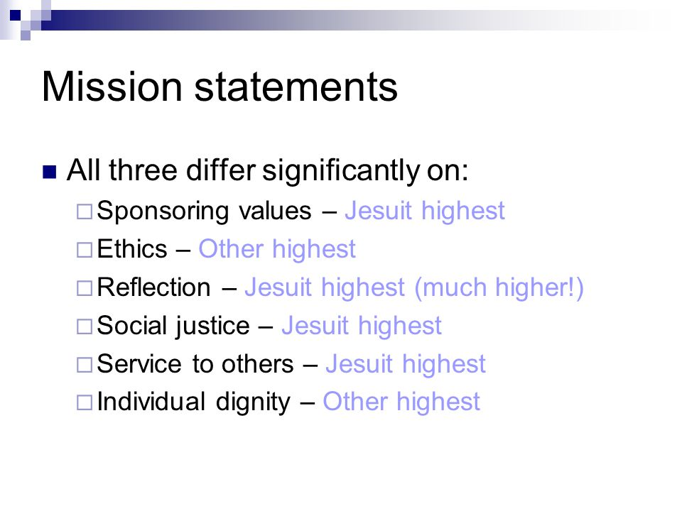 Mission statements All three differ significantly on: Sponsoring values – Jesuit highest Ethics – Other highest Reflection – Jesuit highest (much higher!) Social justice – Jesuit highest Service to others – Jesuit highest Individual dignity – Other highest