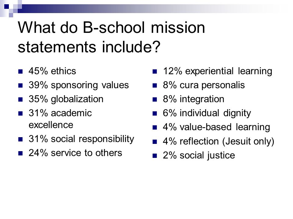 What do B-school mission statements include.