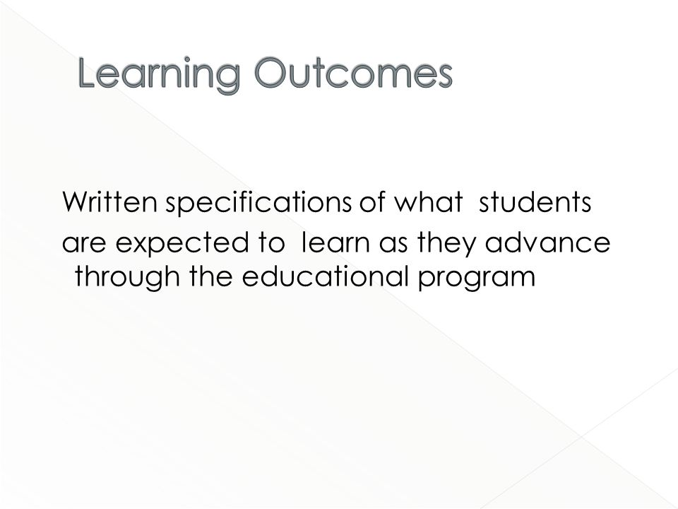 Written specifications of what students are expected to learn as they advance through the educational program