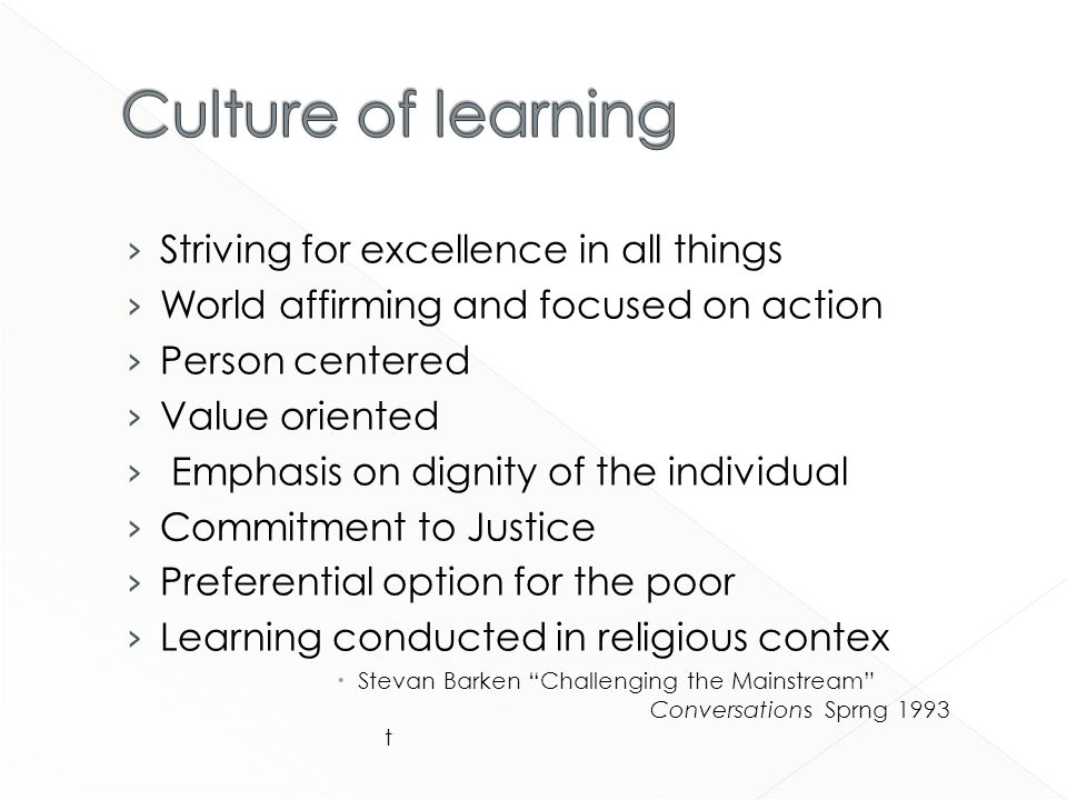 Striving for excellence in all things World affirming and focused on action Person centered Value oriented Emphasis on dignity of the individual Commitment to Justice Preferential option for the poor Learning conducted in religious contex Stevan Barken Challenging the Mainstream Conversations Sprng 1993 t