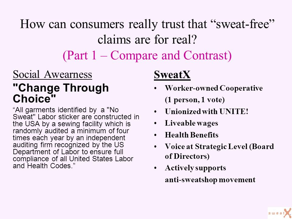 How can consumers really trust that sweat-free claims are for real.