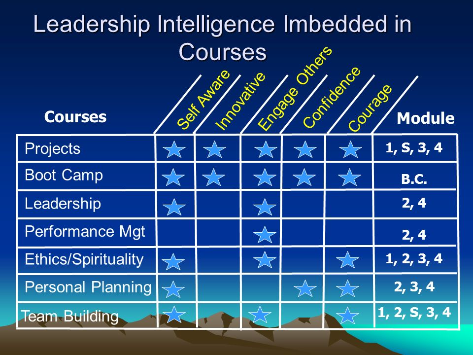 Leadership Intelligence Imbedded in Courses Engage Others Self Aware Personal Planning Ethics/Spirituality Performance Mgt Leadership Boot Camp Courage Confidence Innovative Team Building Projects Courses Module 1, S, 3, 4 1, 2, S, 3, 4 2, 3, 4 1, 2, 3, 4 2, 4 B.C.