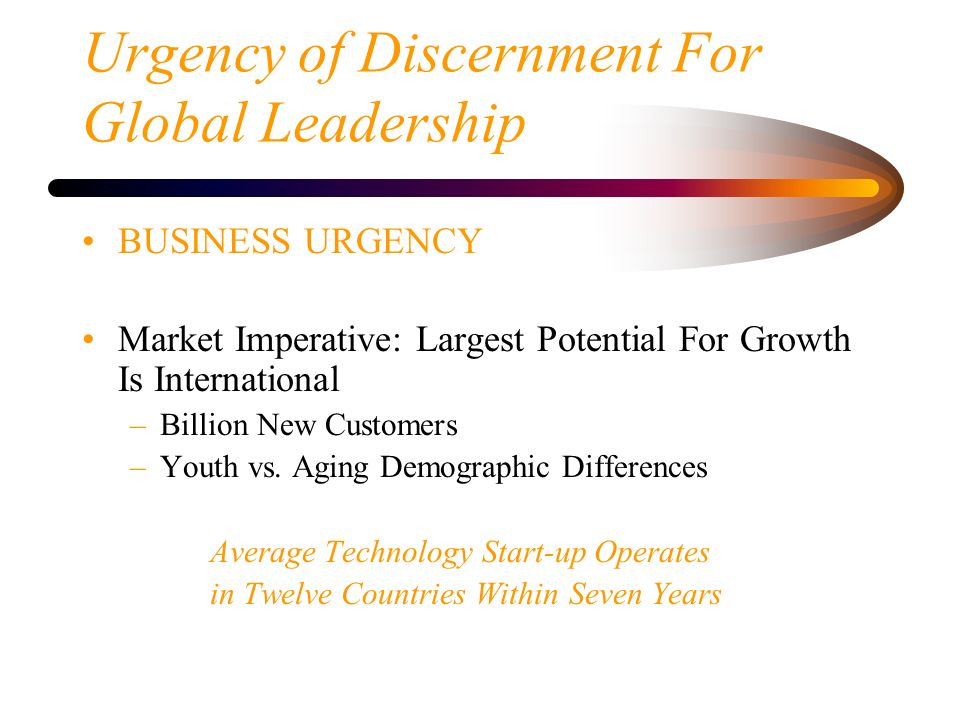 Urgency of Discernment For Global Leadership BUSINESS URGENCY Market Imperative: Largest Potential For Growth Is International –Billion New Customers