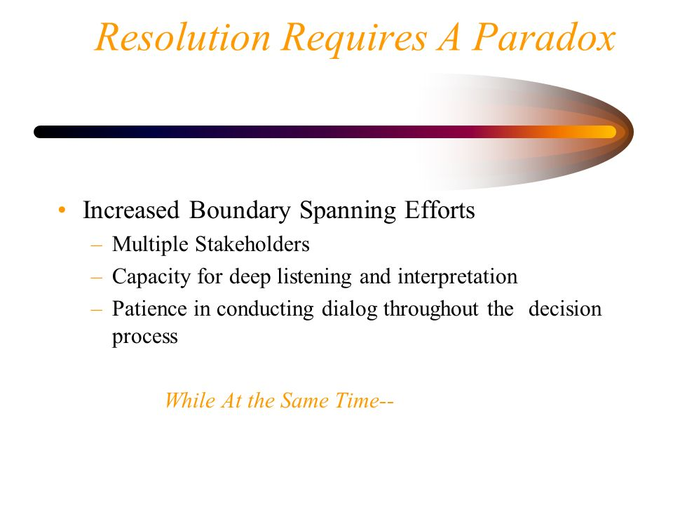 Resolution Requires A Paradox Increased Boundary Spanning Efforts –Multiple Stakeholders –Capacity for deep listening and interpretation –Patience in