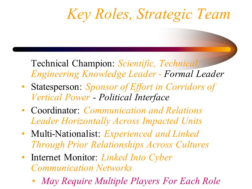 Key Roles, Strategic Team Technical Champion: Scientific, Technical, Engineering Knowledge Leader - Formal Leader Statesperson: Sponsor of Effort in C