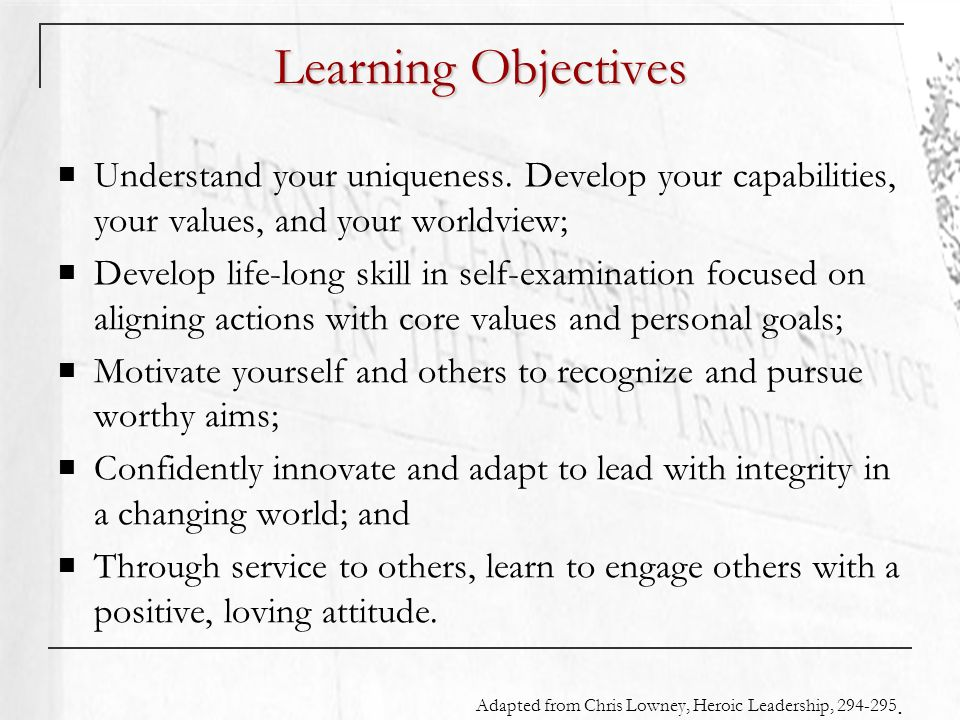 Learning Objectives Understand your uniqueness.