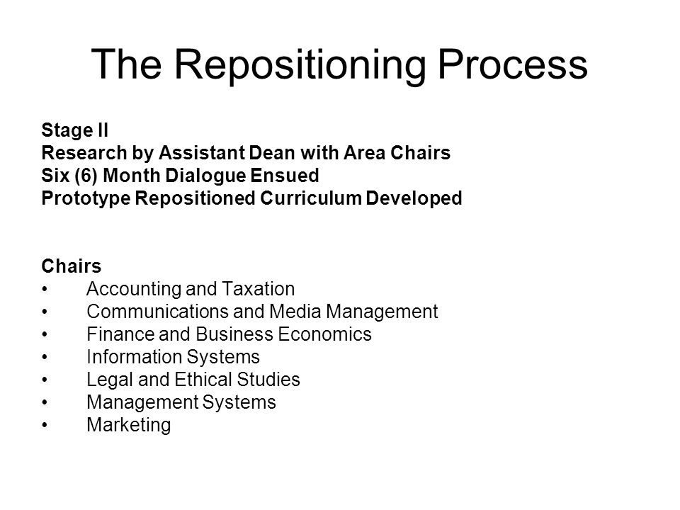 The Repositioning Process Stage II Research by Assistant Dean with Area Chairs Six (6) Month Dialogue Ensued Prototype Repositioned Curriculum Developed Chairs Accounting and Taxation Communications and Media Management Finance and Business Economics Information Systems Legal and Ethical Studies Management Systems Marketing